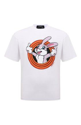 Мужская хлопковая футболка DOMREBEL белого цвета, арт. MHUMPER/B0X T | Фото 1 (Материал внешний: Хлопок; Принт: С принтом; Рукава: Короткие; Стили: Гранж; Длина (для топов): Стандартные)