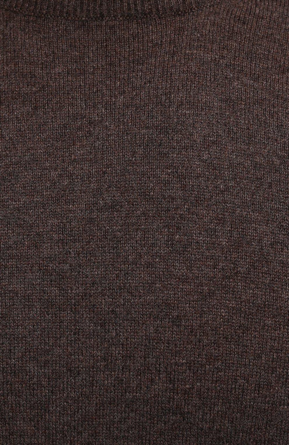 Мужской джемпер из шерсти и кашемира GRAN SASSO коричневого цвета, арт. 55168/19625 | Фото 5 (Мужское Кросс-КТ: Джемперы; Материал внешний: Шерсть; Рукава: Длинные; Принт: Без принта; Длина (для топов): Стандартные; Вырез: Круглый; Стили: Кэжуэл)