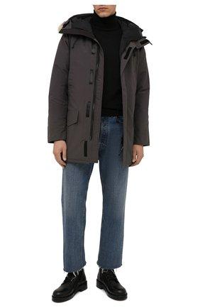 Мужская пуховая парка langford CANADA GOOSE серого цвета, арт. 2062M | Фото 2 (Материал утеплителя: Пух и перо; Материал подклада: Синтетический материал; Материал внешний: Синтетический материал; Стили: Кэжуэл; Кросс-КТ: Куртка; Мужское Кросс-КТ: пуховик-короткий; Длина (верхняя одежда): До середины бедра; Рукава: Длинные)