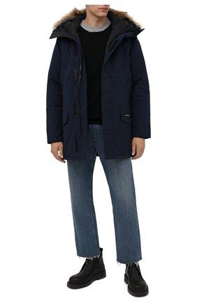 Мужская пуховая парка langford CANADA GOOSE темно-синего цвета, арт. 2062M | Фото 2 (Материал внешний: Синтетический материал; Материал утеплителя: Пух и перо; Материал подклада: Синтетический материал; Стили: Кэжуэл; Кросс-КТ: Куртка; Мужское Кросс-КТ: пуховик-короткий; Длина (верхняя одежда): До середины бедра; Рукава: Длинные)