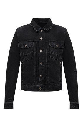 Мужская джинсовая куртка BALMAIN черного цвета, арт. WH1TC015/013D | Фото 1