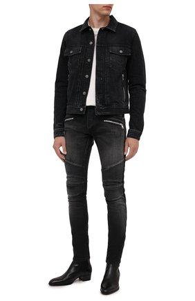 Мужская джинсовая куртка BALMAIN черного цвета, арт. WH1TC015/013D | Фото 2