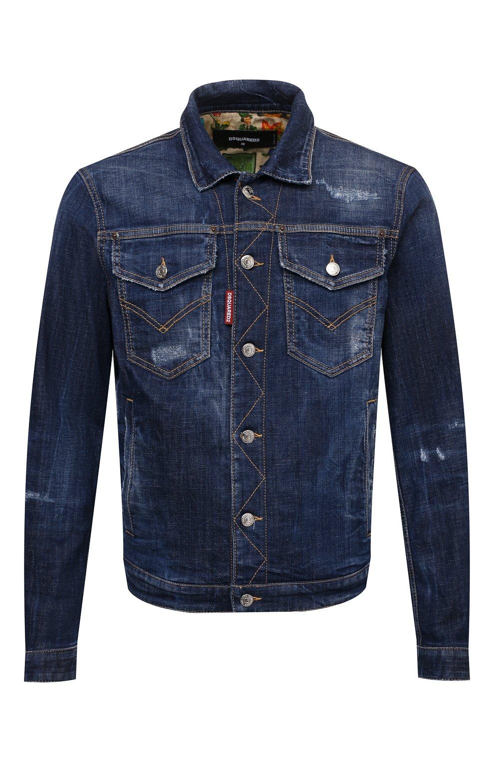 Мужская джинсовая куртка DSQUARED2 темно-синего цвета, арт. S74AM1207/S30342   Фото 1 (Кросс-КТ: Куртка, Деним; Рукава: Длинные; Стили: Гранж; Материал внешний: Хлопок; Длина (верхняя одежда): Короткие; Материал подклада: Хлопок)