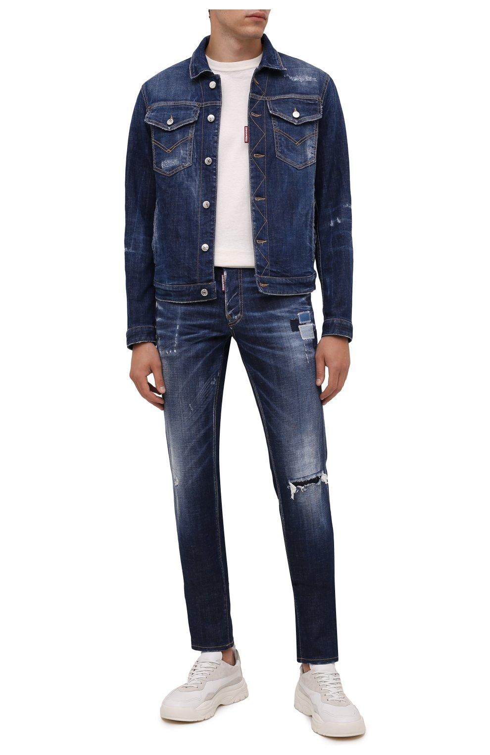 Мужская джинсовая куртка DSQUARED2 темно-синего цвета, арт. S74AM1207/S30342   Фото 2 (Кросс-КТ: Куртка, Деним; Рукава: Длинные; Стили: Гранж; Материал внешний: Хлопок; Длина (верхняя одежда): Короткие; Материал подклада: Хлопок)
