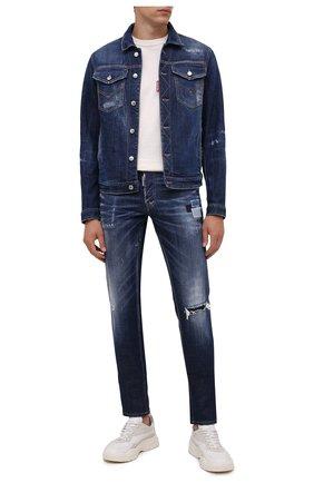 Мужская джинсовая куртка DSQUARED2 темно-синего цвета, арт. S74AM1207/S30342 | Фото 2