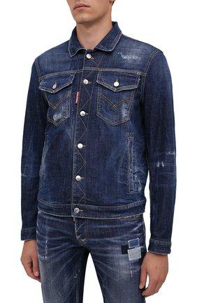 Мужская джинсовая куртка DSQUARED2 темно-синего цвета, арт. S74AM1207/S30342   Фото 3 (Кросс-КТ: Куртка, Деним; Рукава: Длинные; Стили: Гранж; Материал внешний: Хлопок; Длина (верхняя одежда): Короткие; Материал подклада: Хлопок)