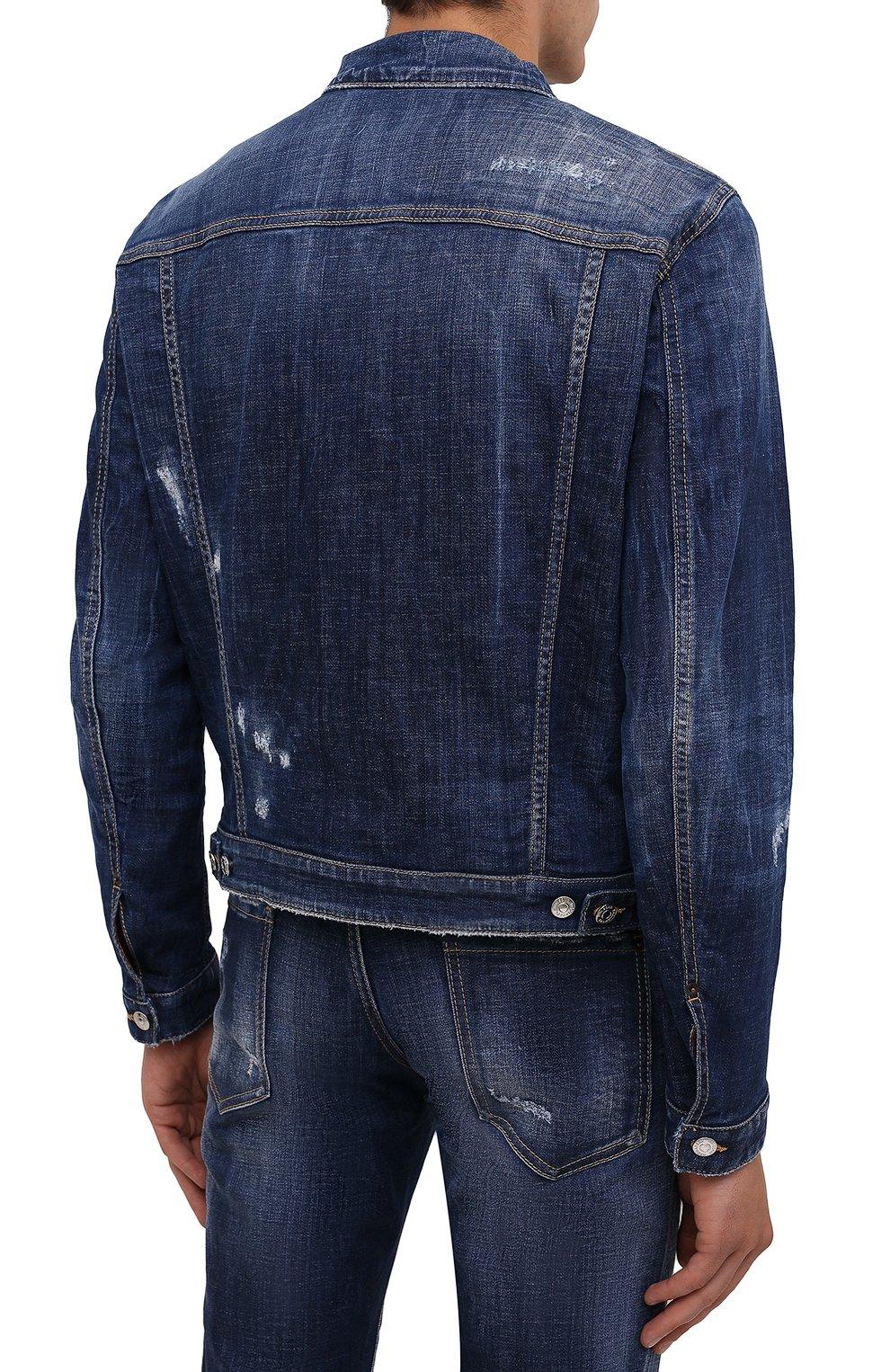 Мужская джинсовая куртка DSQUARED2 темно-синего цвета, арт. S74AM1207/S30342   Фото 4 (Кросс-КТ: Куртка, Деним; Рукава: Длинные; Стили: Гранж; Материал внешний: Хлопок; Длина (верхняя одежда): Короткие; Материал подклада: Хлопок)