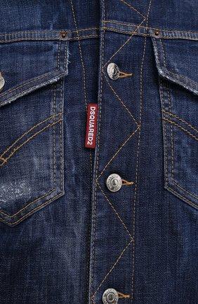 Мужская джинсовая куртка DSQUARED2 темно-синего цвета, арт. S74AM1207/S30342   Фото 5 (Кросс-КТ: Куртка, Деним; Рукава: Длинные; Стили: Гранж; Материал внешний: Хлопок; Длина (верхняя одежда): Короткие; Материал подклада: Хлопок)