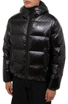 Мужская пуховая куртка DSQUARED2 черного цвета, арт. S74AM1201/S54056 | Фото 3 (Кросс-КТ: Куртка; Мужское Кросс-КТ: пуховик-короткий; Рукава: Длинные; Материал внешний: Синтетический материал; Стили: Гранж; Материал подклада: Синтетический материал; Длина (верхняя одежда): Короткие; Материал утеплителя: Пух и перо)