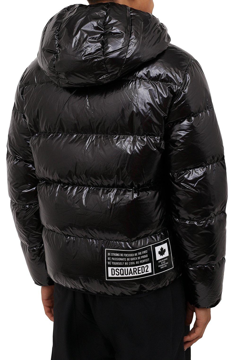 Мужская пуховая куртка DSQUARED2 черного цвета, арт. S74AM1201/S54056 | Фото 4 (Кросс-КТ: Куртка; Мужское Кросс-КТ: пуховик-короткий; Рукава: Длинные; Материал внешний: Синтетический материал; Стили: Гранж; Материал подклада: Синтетический материал; Длина (верхняя одежда): Короткие; Материал утеплителя: Пух и перо)