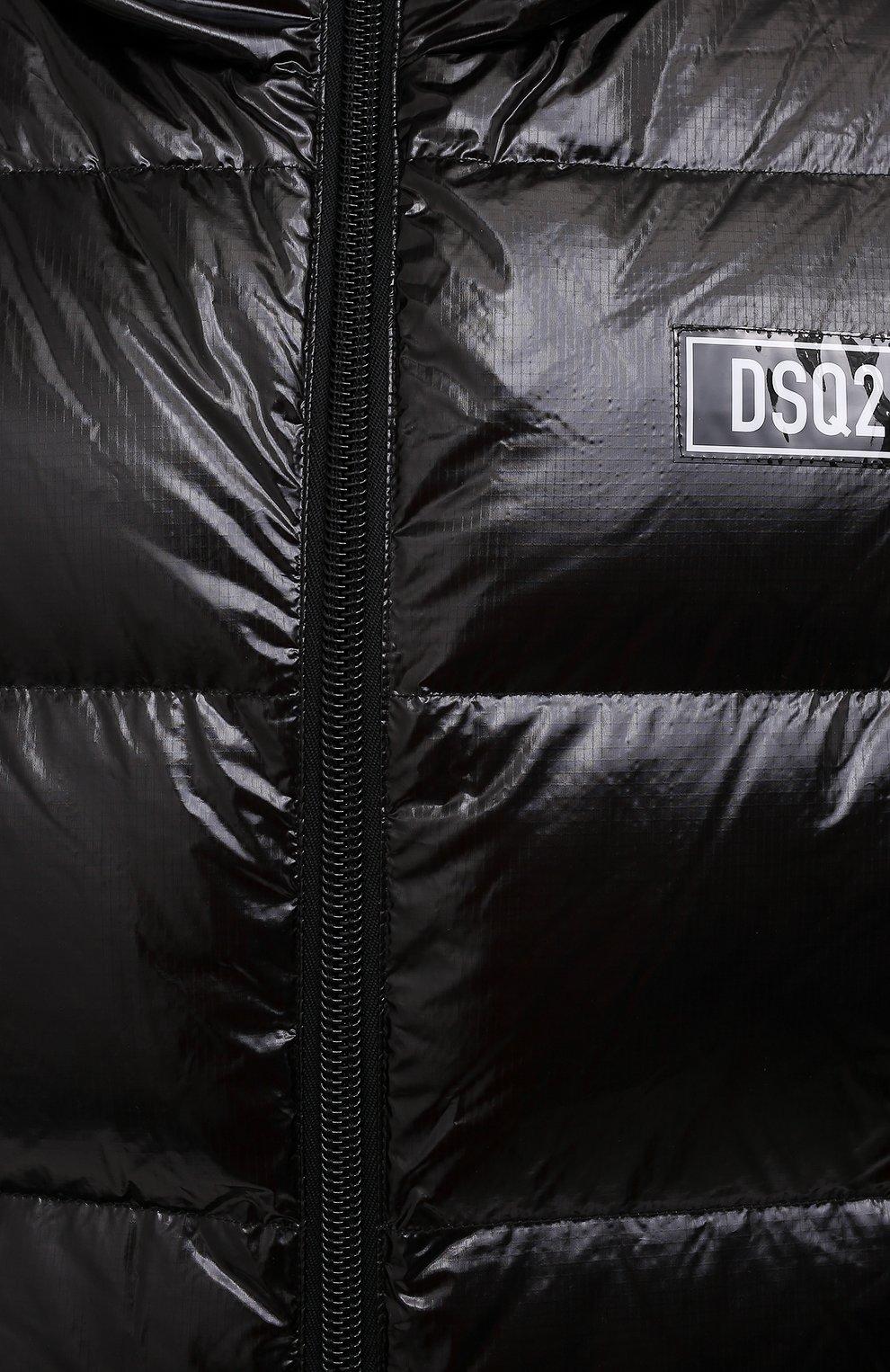 Мужская пуховая куртка DSQUARED2 черного цвета, арт. S74AM1201/S54056 | Фото 5 (Кросс-КТ: Куртка; Мужское Кросс-КТ: пуховик-короткий; Рукава: Длинные; Материал внешний: Синтетический материал; Стили: Гранж; Материал подклада: Синтетический материал; Длина (верхняя одежда): Короткие; Материал утеплителя: Пух и перо)