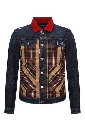 Мужская джинсовая куртка DSQUARED2 темно-синего цвета, арт. S74AM1185/S30214 | Фото 1