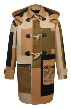 Мужской шерстяное пальто DSQUARED2 бежевого цвета, арт. S74AA0234/S53003 | Фото 1 (Длина (верхняя одежда): До середины бедра; Материал подклада: Синтетический материал; Рукава: Длинные; Материал внешний: Шерсть; Стили: Кэжуэл; Мужское Кросс-КТ: пальто-верхняя одежда)