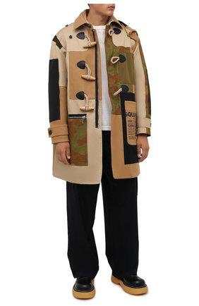 Мужской шерстяное пальто DSQUARED2 бежевого цвета, арт. S74AA0234/S53003 | Фото 2 (Длина (верхняя одежда): До середины бедра; Материал подклада: Синтетический материал; Рукава: Длинные; Материал внешний: Шерсть; Стили: Кэжуэл; Мужское Кросс-КТ: пальто-верхняя одежда)