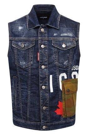 Мужской джинсовый жилет DSQUARED2 темно-синего цвета, арт. S79FB0004/S30342 | Фото 1