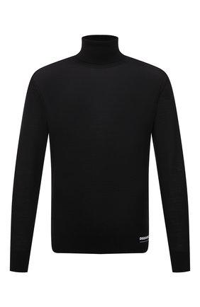 Мужской кашемировая водолазка DSQUARED2 черного цвета, арт. S74HA1169/S16794   Фото 1 (Длина (для топов): Стандартные; Рукава: Длинные; Материал внешний: Шерсть; Мужское Кросс-КТ: Водолазка-одежда; Принт: Без принта; Стили: Кэжуэл)