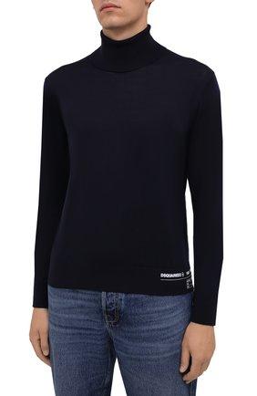 Мужской кашемировая водолазка DSQUARED2 темно-синего цвета, арт. S74HA1169/S16794 | Фото 3 (Материал внешний: Шерсть; Рукава: Длинные; Принт: Без принта; Длина (для топов): Стандартные; Мужское Кросс-КТ: Водолазка-одежда; Стили: Кэжуэл)