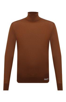 Мужской кашемировая водолазка DSQUARED2 коричневого цвета, арт. S74HA1169/S16794 | Фото 1 (Материал внешний: Шерсть; Длина (для топов): Стандартные; Рукава: Длинные; Мужское Кросс-КТ: Водолазка-одежда; Принт: Без принта; Стили: Кэжуэл)