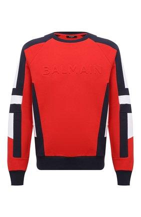 Мужской хлопковый свитшот BALMAIN красного цвета, арт. WH1JS035/B120 | Фото 1