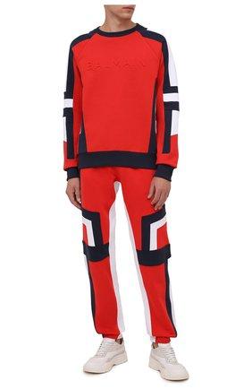 Мужской хлопковый свитшот BALMAIN красного цвета, арт. WH1JS035/B120 | Фото 2