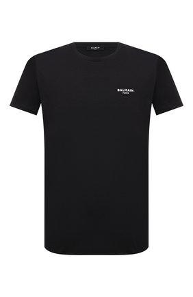 Мужская хлопковая футболка BALMAIN черного цвета, арт. WH1EF000/B069 | Фото 1