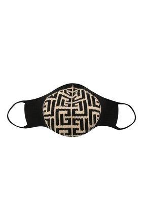 Женского маска для лица BALMAIN черно-белого цвета, арт. WF1XD001/K265   Фото 1 (Материал: Хлопок, Текстиль; Мужское Кросс-КТ: Маска)