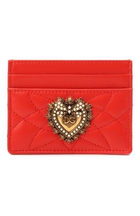 Женский кожаный футляр для кредитных карт DOLCE & GABBANA красного цвета, арт. BI0330/AV967   Фото 1