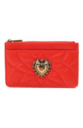 Женский кожаный футляр для кредитных карт DOLCE & GABBANA красного цвета, арт. BI1261/AV967   Фото 1