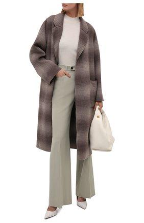 Женское пальто из шерсти и кашемира MANZONI24 светло-коричневого цвета, арт. 21M750-SFUML8/48-52   Фото 2