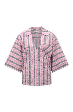 Женская хлопковая блузка GANNI розового цвета, арт. F6103   Фото 1