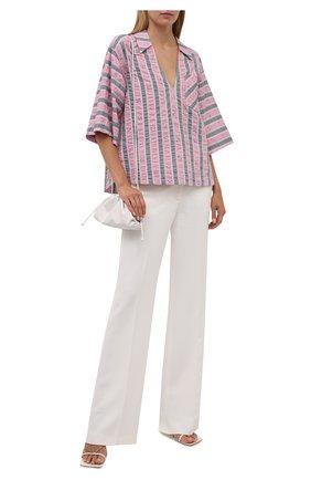 Женская хлопковая блузка GANNI розового цвета, арт. F6103   Фото 2