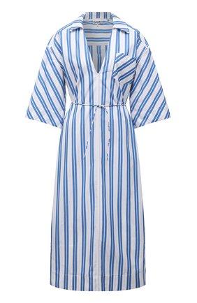 Женское хлопковое платье GANNI голубого цвета, арт. F5974   Фото 1