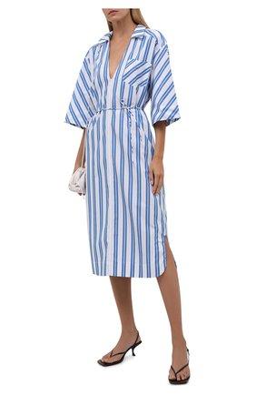 Женское хлопковое платье GANNI голубого цвета, арт. F5974   Фото 2