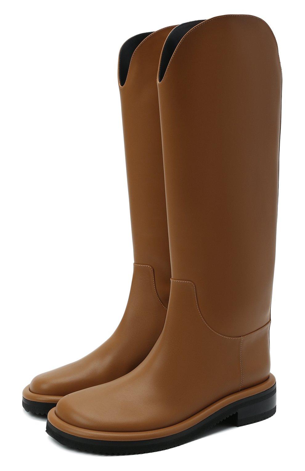 Женские кожаные сапоги pipe riding PROENZA SCHOULER светло-коричневого цвета, арт. PS37012A/14033 | Фото 1 (Подошва: Платформа; Высота голенища: Средние; Каблук высота: Низкий; Материал внутренний: Натуральная кожа; Каблук тип: Устойчивый)