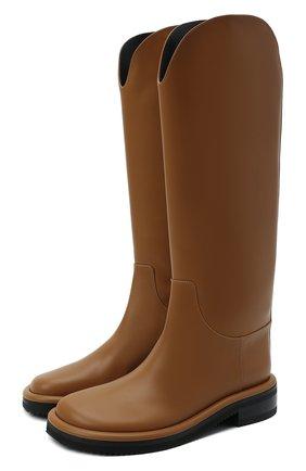 Женские кожаные сапоги pipe riding PROENZA SCHOULER коричневого цвета, арт. PS37012A/14033   Фото 1 (Каблук высота: Низкий; Материал внутренний: Натуральная кожа; Подошва: Платформа; Высота голенища: Средние; Каблук тип: Устойчивый)