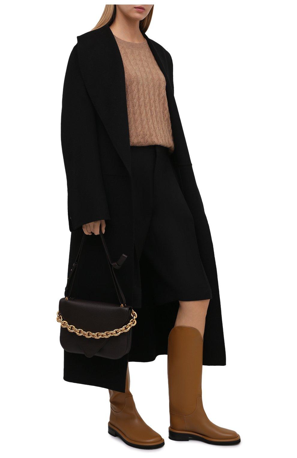 Женские кожаные сапоги pipe riding PROENZA SCHOULER светло-коричневого цвета, арт. PS37012A/14033 | Фото 2 (Подошва: Платформа; Высота голенища: Средние; Каблук высота: Низкий; Материал внутренний: Натуральная кожа; Каблук тип: Устойчивый)
