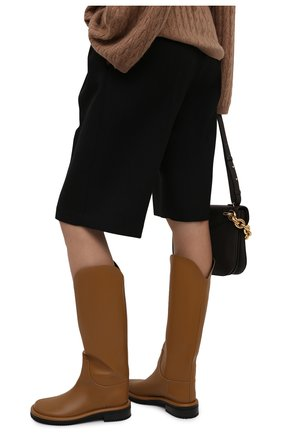 Женские кожаные сапоги pipe riding PROENZA SCHOULER светло-коричневого цвета, арт. PS37012A/14033 | Фото 3 (Подошва: Платформа; Высота голенища: Средние; Каблук высота: Низкий; Материал внутренний: Натуральная кожа; Каблук тип: Устойчивый)