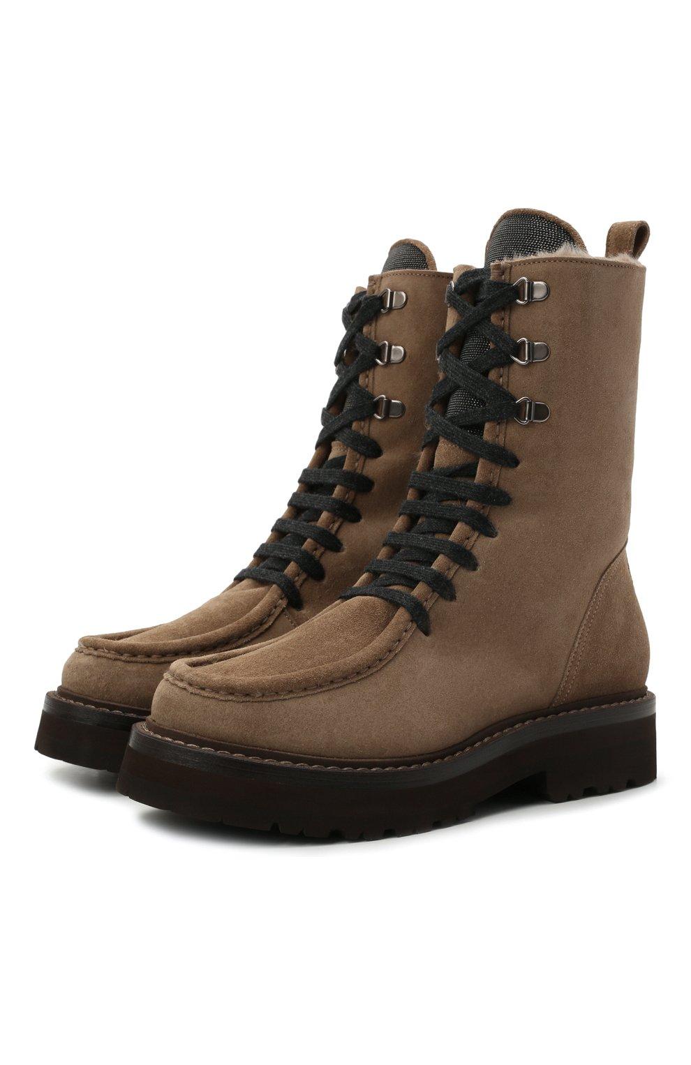 Женские замшевые ботинки BRUNELLO CUCINELLI коричневого цвета, арт. MZSFG2114 | Фото 1 (Подошва: Платформа; Материал утеплителя: Натуральный мех; Каблук высота: Низкий; Женское Кросс-КТ: Военные ботинки, Зимние ботинки; Материал внешний: Замша)