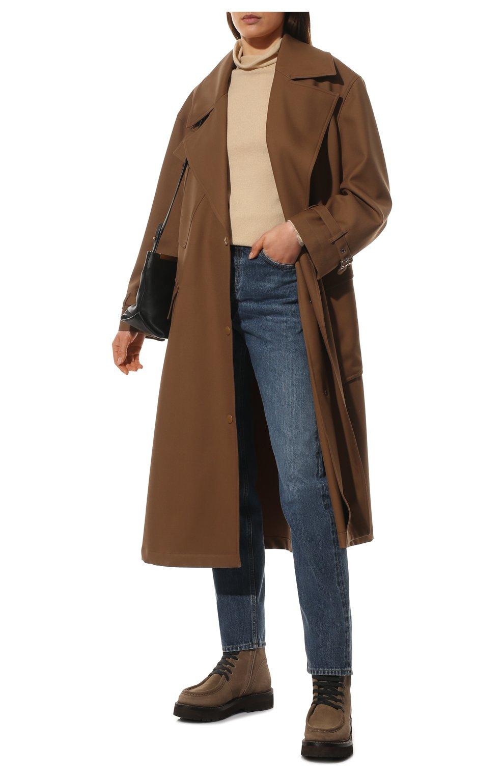 Женские замшевые ботинки BRUNELLO CUCINELLI коричневого цвета, арт. MZSFG2114 | Фото 2 (Подошва: Платформа; Материал утеплителя: Натуральный мех; Каблук высота: Низкий; Женское Кросс-КТ: Военные ботинки, Зимние ботинки; Материал внешний: Замша)