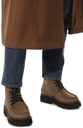 Женские замшевые ботинки BRUNELLO CUCINELLI коричневого цвета, арт. MZSFG2114 | Фото 3 (Подошва: Платформа; Материал утеплителя: Натуральный мех; Каблук высота: Низкий; Женское Кросс-КТ: Военные ботинки, Зимние ботинки; Материал внешний: Замша)