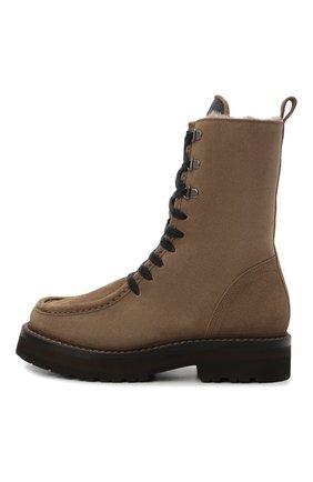 Женские замшевые ботинки BRUNELLO CUCINELLI коричневого цвета, арт. MZSFG2114 | Фото 4 (Подошва: Платформа; Материал утеплителя: Натуральный мех; Каблук высота: Низкий; Женское Кросс-КТ: Военные ботинки, Зимние ботинки; Материал внешний: Замша)