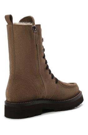 Женские замшевые ботинки BRUNELLO CUCINELLI коричневого цвета, арт. MZSFG2114 | Фото 5 (Подошва: Платформа; Материал утеплителя: Натуральный мех; Каблук высота: Низкий; Женское Кросс-КТ: Военные ботинки, Зимние ботинки; Материал внешний: Замша)