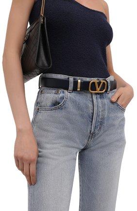 Женский кожаный ремень VALENTINO темно-синего цвета, арт. WW2T0T15/XAQ | Фото 2