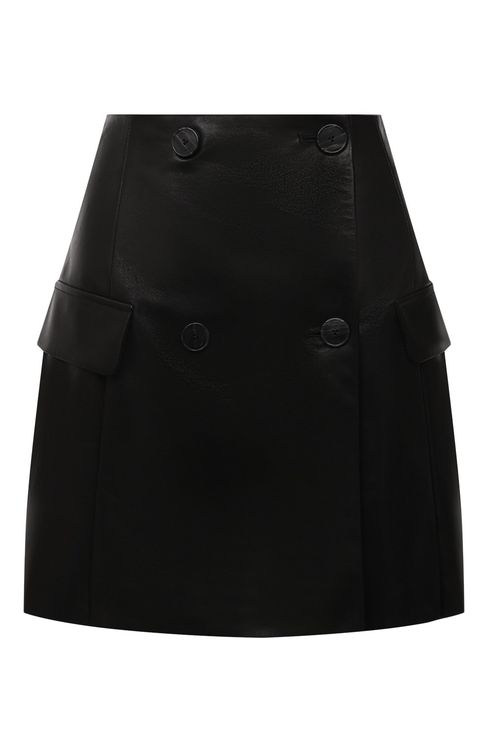 Женская кожаная юбка DROME черного цвета, арт. DPD7073P/D1098P | Фото 1 (Длина Ж (юбки, платья, шорты): Мини; Стили: Гранж; Женское Кросс-КТ: Юбка-одежда; Материал подклада: Вискоза)