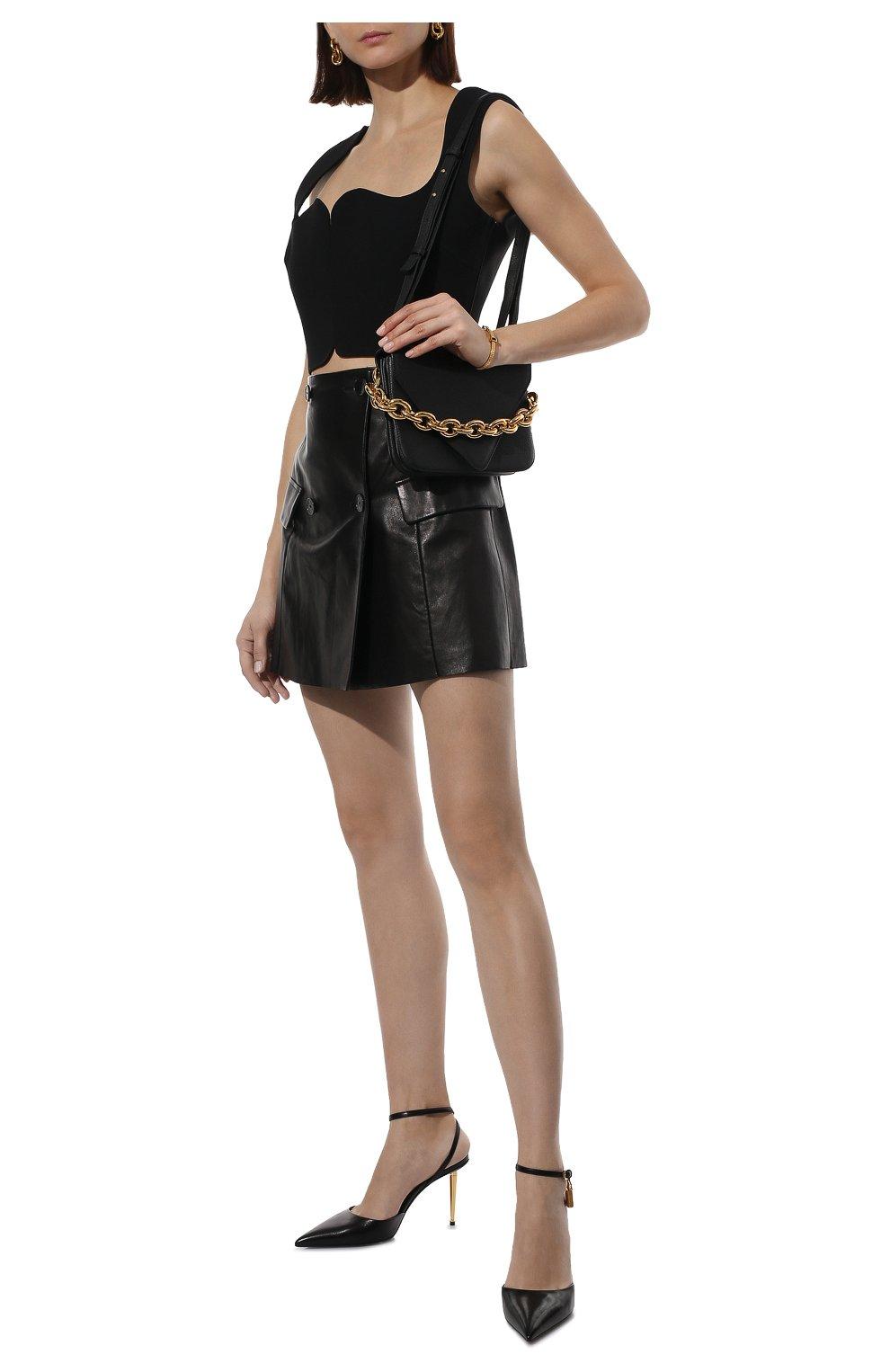 Женская кожаная юбка DROME черного цвета, арт. DPD7073P/D1098P | Фото 2 (Длина Ж (юбки, платья, шорты): Мини; Стили: Гранж; Женское Кросс-КТ: Юбка-одежда; Материал подклада: Вискоза)