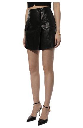 Женская кожаная юбка DROME черного цвета, арт. DPD7073P/D1098P | Фото 3 (Длина Ж (юбки, платья, шорты): Мини; Стили: Гранж; Женское Кросс-КТ: Юбка-одежда; Материал подклада: Вискоза)