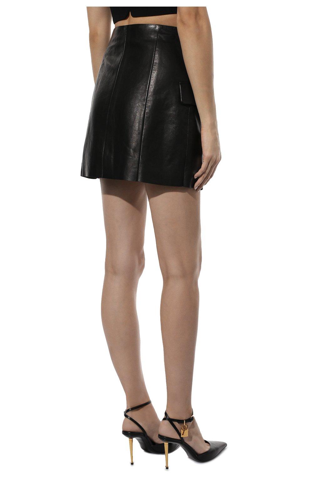 Женская кожаная юбка DROME черного цвета, арт. DPD7073P/D1098P | Фото 4 (Длина Ж (юбки, платья, шорты): Мини; Стили: Гранж; Женское Кросс-КТ: Юбка-одежда; Материал подклада: Вискоза)