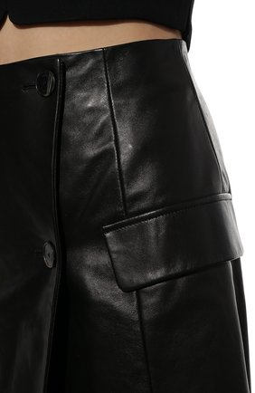 Женская кожаная юбка DROME черного цвета, арт. DPD7073P/D1098P | Фото 5 (Длина Ж (юбки, платья, шорты): Мини; Стили: Гранж; Женское Кросс-КТ: Юбка-одежда; Материал подклада: Вискоза)