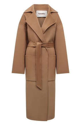 Женское пальто из шерсти и шелка NANUSHKA бежевого цвета, арт. NW20CR0W00874   Фото 1