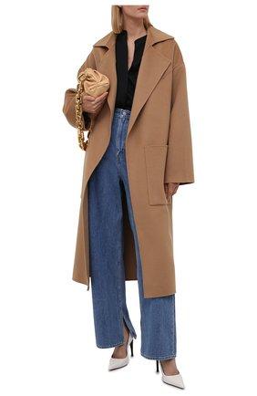 Женское пальто из шерсти и шелка NANUSHKA бежевого цвета, арт. NW20CR0W00874   Фото 2